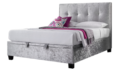 Double Ottoman Bed Crushed Velvet Silver